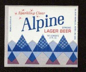 ALPINE Strong Lager Beer Label / 12oz