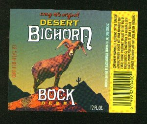 DESERT BIGHORN Bock Beer Label  /12oz