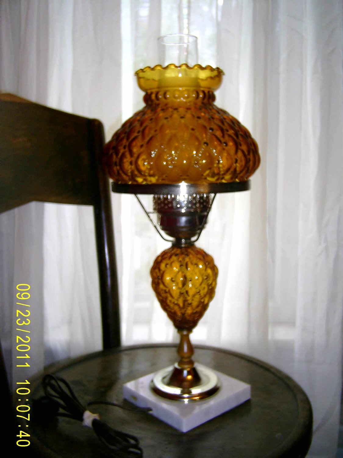 Vintage Fenton Amber Glass Quilted Diamond Student Lamp
