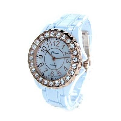 Geneva Platinum White/Rose Gold Ceramic-Style Women's Watch with Crystals GP6945