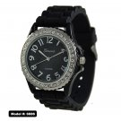 Geneva Platinum Black Silicone Rubber Watch GP6886