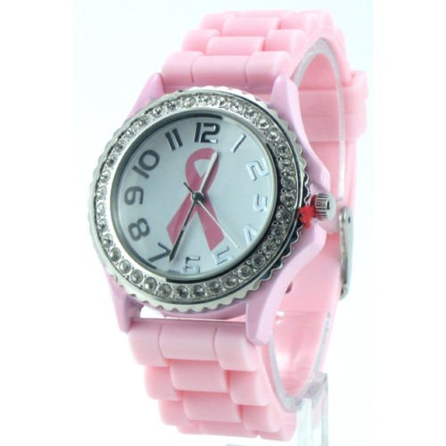 Pink Ribbon Breast Cancer Awareness Oversized Silicone Jelly Watch w/ Crystals
