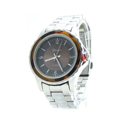 Geneva Platinum Silver & Tortoise Boyfriend Watch