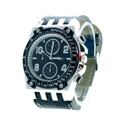Geneva Platinum Men's White Stitch Black Leather Watch
