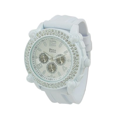 Geneva Platinum Men's Oversized Iced-Out White Crystal Rubber Watch