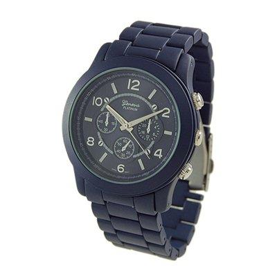 Geneva Platinum Blue Oversized Ceramic-Style Watch GP9158