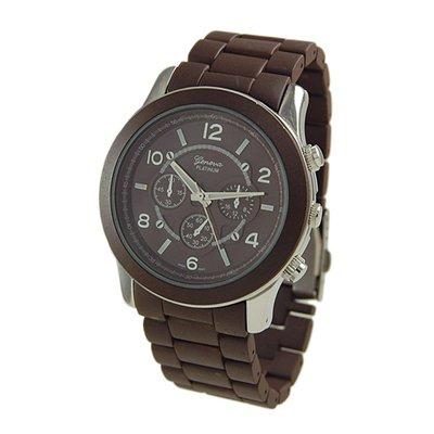 Geneva Platinum Brown Oversized Ceramic-Style Watch GP9158