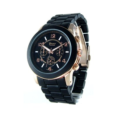Geneva Platinum Black/Rose Gold Oversized Ceramic-Style Watch GP9158
