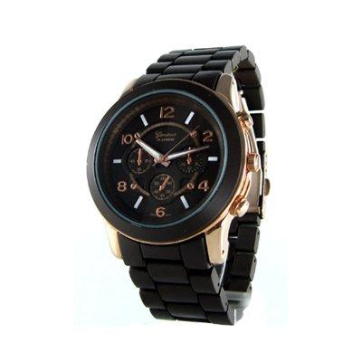 Geneva Platinum Brown/Rose Gold Oversized Ceramic-Style Watch GP9158
