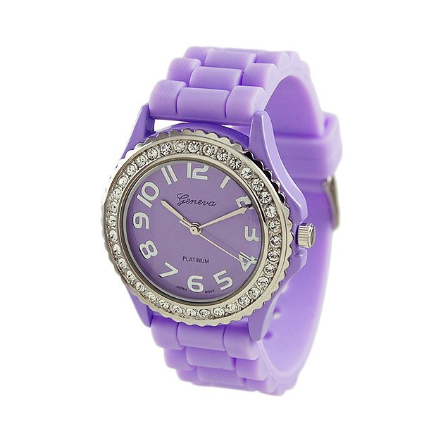 Geneva Platinum Lavender Silicone Jelly Watch GP6886
