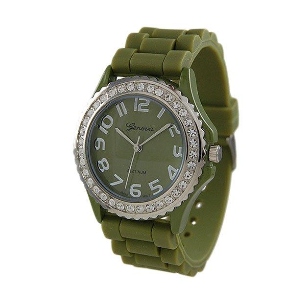 Geneva Platinum Army Green Silicone Jelly Watch GP6886