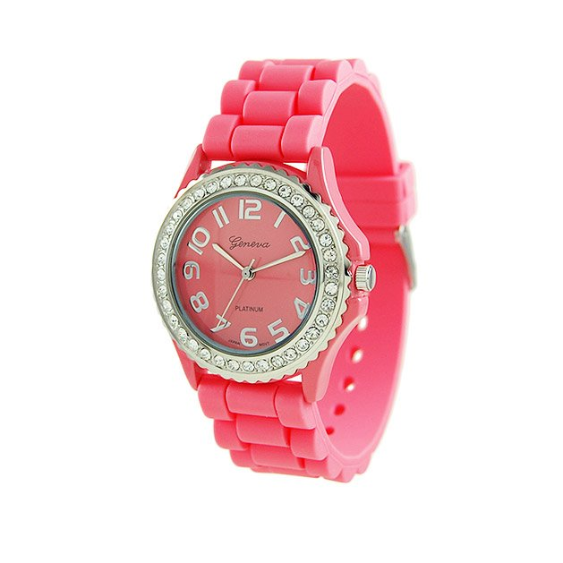 Geneva Platinum Peach Silicone Jelly Watch GP6886