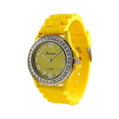 Geneva Platinum Yellow Silicone Jelly Watch GP6886