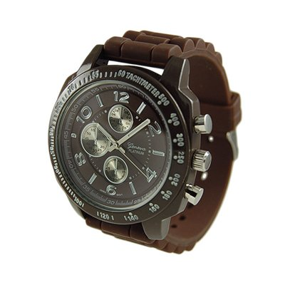Geneva Platinum Brown Silicone Jelly Rubber Sports Watch Tachymeter GP7842