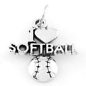 STERLING SILVER I LOVE SOFTBALL CHARM/PENDANT