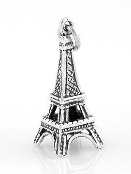 STERLING SILVER 3D PARIS EIFFEL TOWER CHARM/PENDANT