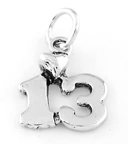 STERLING SILVER NUMBER 13 W/ HEART CHARM/PENDANT
