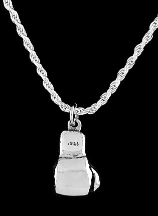 STERLING SILVER BOXING GLOVE 3D CHARM & ROPE CHAIN 18""