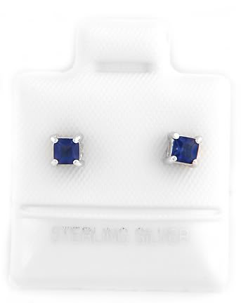 STERLING SILVER SEPTEMBER BIRTHSTONE CZ CHILD POST EARRINGS 3mm