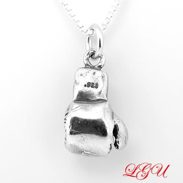 STERLING SILVER BOXING GLOVE 3D CHARM 16 INCH BOX CHAIN NECKLACE