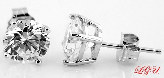 Sterling Silver CZ Round Cut Stud Earrings 7MM