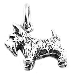 STERLING SILVER 3D SCOTTISH TERRIER DOG CHARM