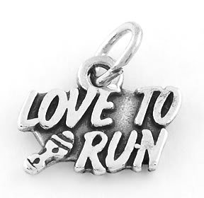 STERLING SILVER LOVE TO RUN CHARM/PENDANT