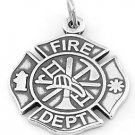 STERLING SILVER FIRE DEPARTMENT MALTESE CROSS CHARM/PENDANT