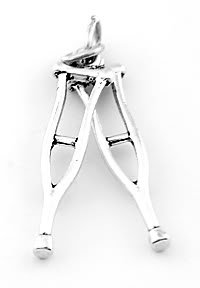 STERLING SILVER 3D CRUTCHES CHARM/ PENDANT