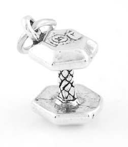 STERLING SILVER DUMBELL WEIGHT CHARM/PENDANT