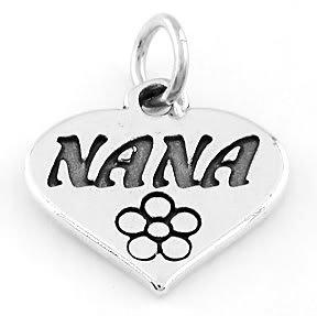STERLING SILVER NANA IN HEART CHARM/PENDANT