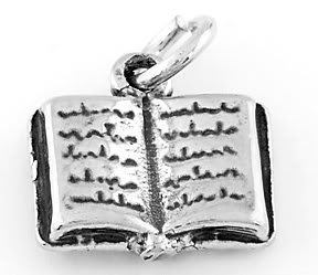 STERLING SILVER OPEN BOOK CHARM/ PENDANT