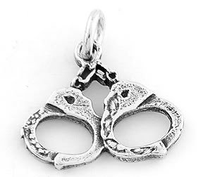 STERLING SILVER POLICE HANDCUFFS CHARM/PENDANT