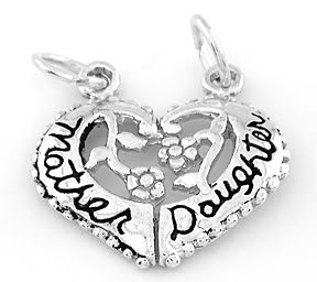 STERLING SILVER MOTHER DAUGHTER HEART SPLIT CHARM/PENDANT