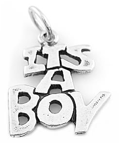 STERLING SILVER SOLID IT'S A BOY CHARM/PENDANT
