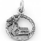 STERLING SILVER BEACH HOUSE PALM TREE CHARM/PENDANT