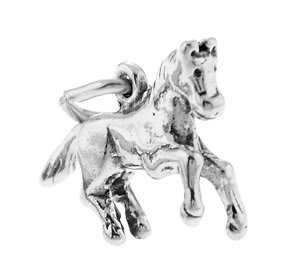 STERLING SILVER PRANCING PONY / HORSE CHARM/PENDANT