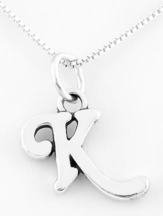 STERLING SILVER LETTER K CHARM WITH 16 inch box chain necklace
