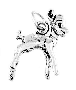 STERLING SILVER DEER / BABY FAWN CHARM/PENDANT