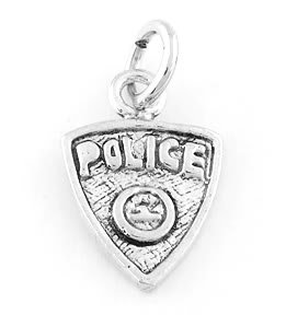 STERLING SILVER POLICE BADGE CHARM/PENDANT