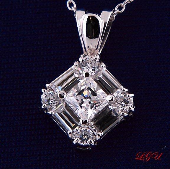 Sterling Silver Round/Baguettes/Princess CZ Necklace