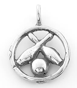 STERLING SILVER BOWLING PIN AND BALL CHARM/PENDANT