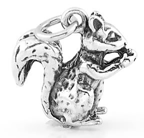 STERLING SILVER 3D SQUIRREL EATING NUT CHARM/ PENDANT