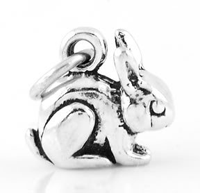 STERLING SILVER SMALL BUNNY RABBIT CHARM/PENDANT