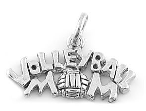STERLING SILVER VOLLEYBALL MOM CHARM/PENDANT