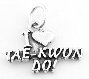 STERLING SILVER I LOVE TAE KWON DO CHARM/PENDANT