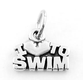 STERLING SILVER I LOVE TO SWIM CHARM/PENDANT