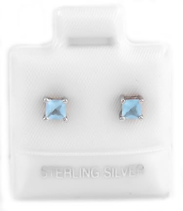 STERLING SILVER MARCH BIRTHSTONE CZ CHILD POST EARRINGS 3mm