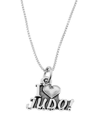 STERLING SILVER I LOVE (HEART) JUDO CHARM WITH 16 INCH BOX CHAIN NECKLACE