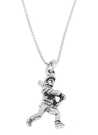 STERLING SILVER BATTING BASEBALL PLAYER CHARM WITH 16 INCH BOX CHAIN NECKLACE